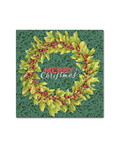 "Trademark Global Yachal Design 'Holly Wreath' Canvas Art - 14"" x 14"" x 2"""