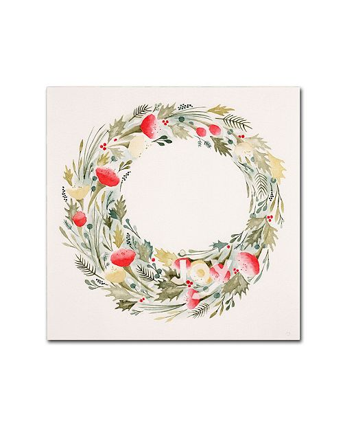 "Trademark Global Yachal Design 'Joy Wreath' Canvas Art - 35"" x 35"" x 2"""