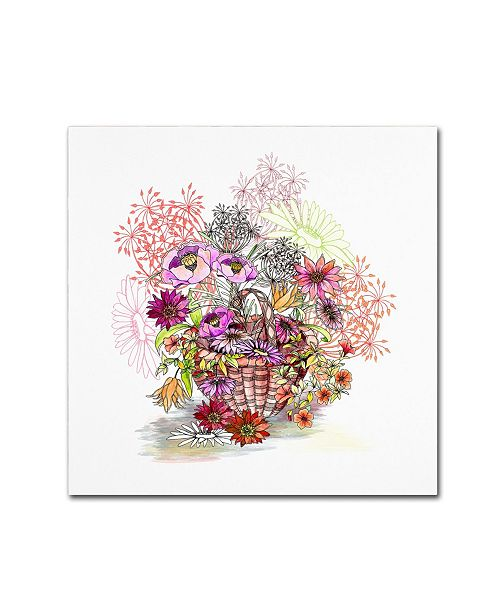 """Trademark Global The Tangled Peacock 'Basket Of Flowers' Canvas Art - 18"""" x 18"""" x 2"""""""