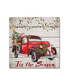 "Jean Plout 'Vintage Christmas Truck 5' Canvas Art - 18"" x 18"" x 2"""