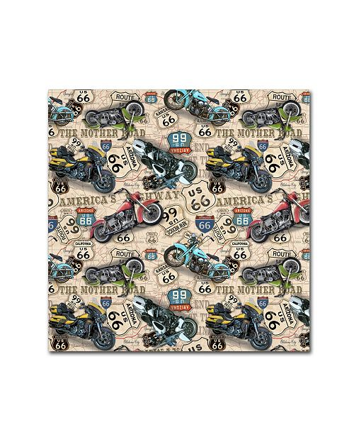 "Trademark Global Jean Plout 'Vintage Motorcycles On Route 66 10' Canvas Art - 18"" x 18"" x 2"""