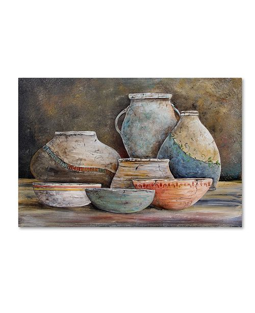 "Trademark Global Jean Plout 'Clay Pottery Still Life 1' Canvas Art - 24"" x 16"" x 2"""