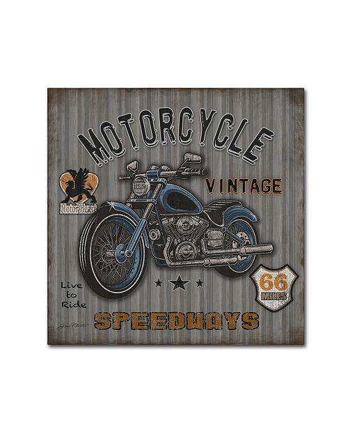 """Trademark Global Jean Plout 'Motorcycle Speedway 2' Canvas Art - 18"""" x 18"""" x 2"""""""