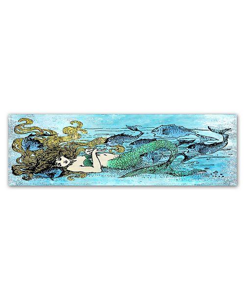"Trademark Global Jean Plout 'Mermaid Under The Sea 1' Canvas Art - 10"" x 32"" x 2"""