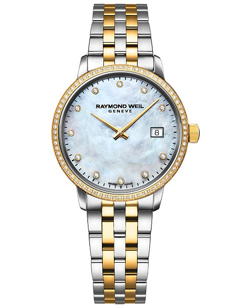 Raymond Weil Women's Swiss Toccata Diamond-Accent Two-Tone PVD Stainless Steel Bracelet Watch 29mm