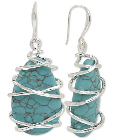 Robert Lee Morris Soho Silver-Tone Wire-Wrapped Stone Drop Earrings