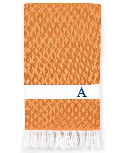 Linum Home Personalized Diamond Pestemal Orange Beach Towel
