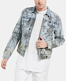 GUESS Men's Distressed Palm Tree Trucker Jacket