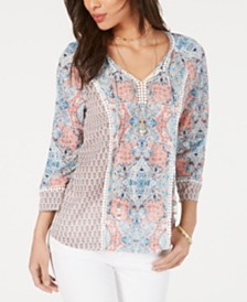 Style & Co Printed Trim Tie Top, Created for Macy's