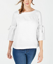 Petite Linen Lantern-Sleeve Top, Created for Macy's