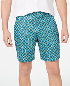 Tasso Elba Men's Flat-Front Linen Printed Shorts, Created for Macy's