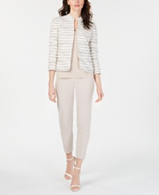 Anne Klein Collarless Printed Jacket, Double V-Neck Top & Extended-Tab Pants