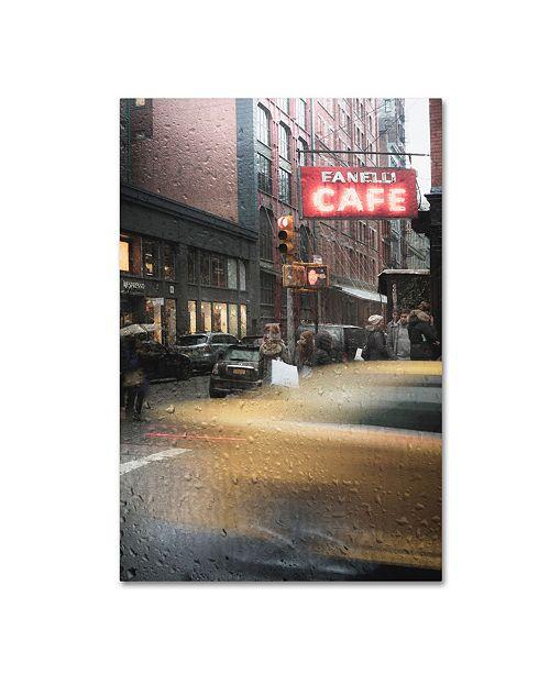 "Trademark Global Moises Levy 'Cafe And Cab Rain' Canvas Art - 32"" x 22"" x 2"""