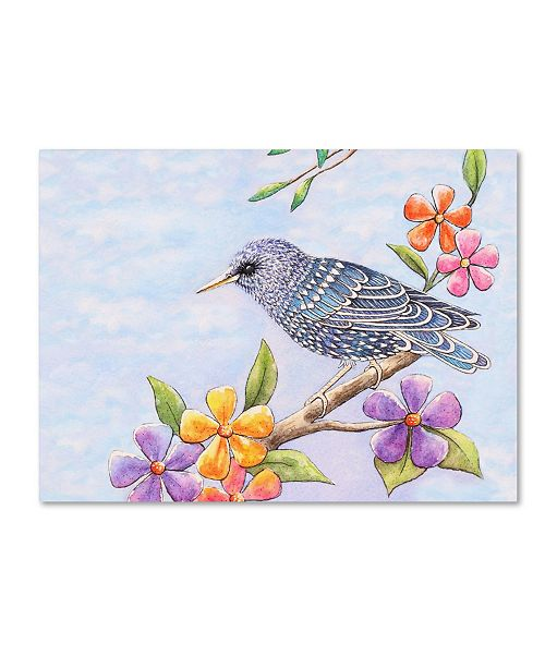 """Trademark Global Michelle Faber 'Starling Bird With Flowers' Canvas Art - 47"""" x 35"""" x 2"""""""