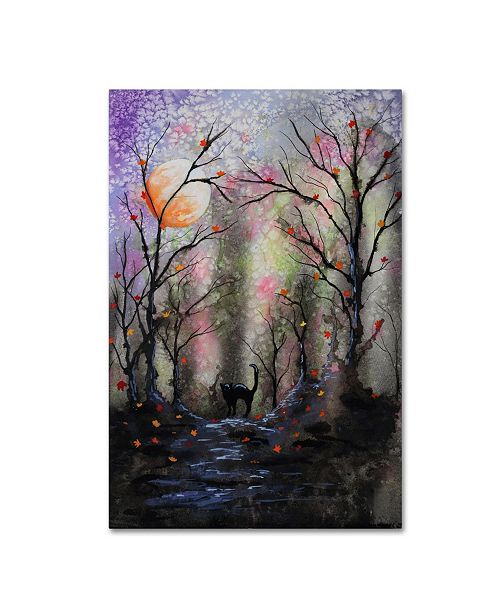 """Trademark Global Michelle Faber 'Black Cat In Forest' Canvas Art - 19"""" x 12"""" x 2"""""""