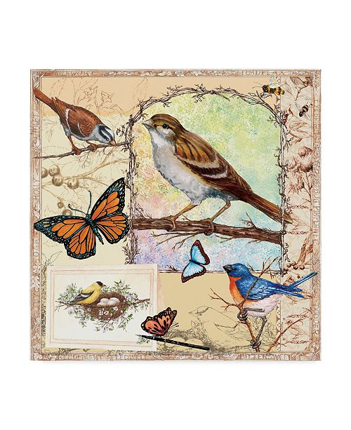 "Trademark Global Sher Sester 'Birds, Butterflies, Bees Pastels' Canvas Art - 14"" x 14"" x 2"""