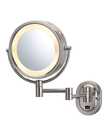 "The Jerdon HL65ND 8"" Lighted Wall Mount Direct Wire Makeup Mirror"