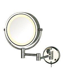 "The Jerdon HL75C 8.5"" Wall Mount Lighted Makeup Mirror"