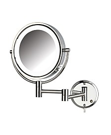 "The Jerdon HL88CL 8.5"" LED Lighted Wall Mount Makeup Mirror"