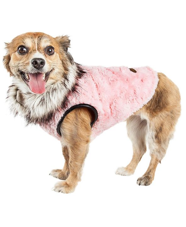 Pet Life Central Pet Life Luxe 'Pinkachew' Charming Faux Fur Dog Coat Jacket