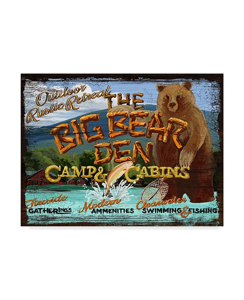 "Trademark Innovations Old Red Truck 'Big Bear Den' Canvas Art - 47"" x 35"" x 2"""