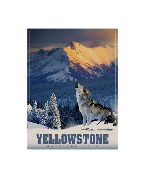 "Trademark Innovations Old Red Truck 'Yellowstone Wolf' Canvas Art - 47"" x 35"" x 2"""