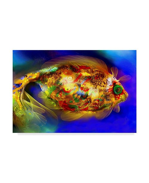 "Trademark Global RUNA 'Golden Fish 1' Canvas Art - 19"" x 12"" x 2"""