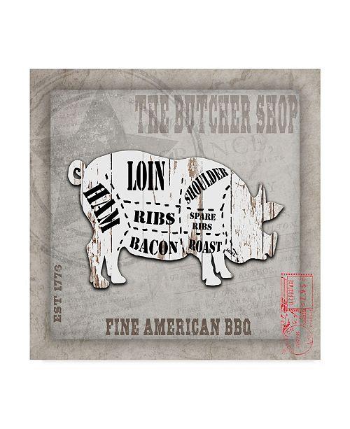 """Trademark Global lightbox Journal 'American Butcher Shop Pig' Canvas Art - 18"""" x 18"""" x 2"""""""