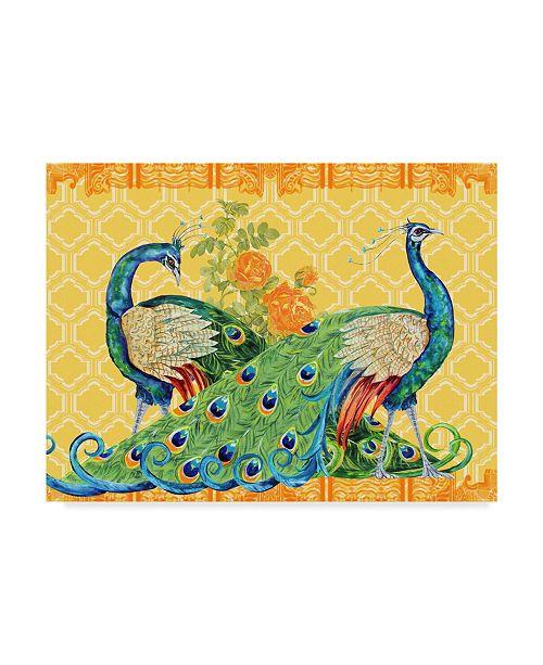 "Trademark Global Jean Plout 'Peacock Parade Orange' Canvas Art - 24"" x 18"" x 2"""