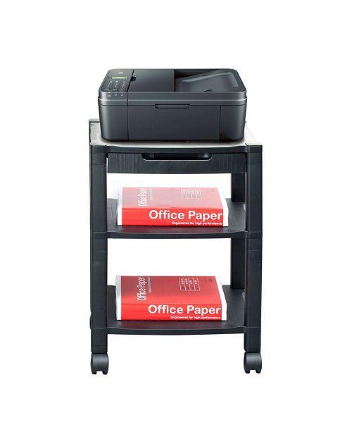 Mind Reader 3-Shelf Printer Cart, Stand with Wheels, Drawer, Cord Management