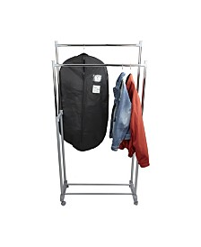 Mind Reader Adjustable Metal Double Garment Rack with Wheels