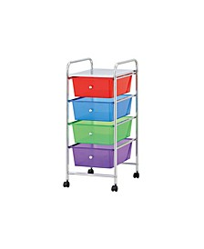 Rolling All Purpose Storage Cart and Organizer with 4 Plastic Drawers