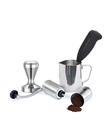 Mind Reader Stainless Steel Coffee Lover 4 Piece Set, Tamper, Frother, Pitcher, Grinder for Lattes, Cappuccinos, Hot Chocolate, Frappe