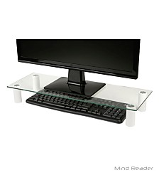 Mind Reader Glass Monitor Stand Riser for Computer, Laptop, Desk, Imac, Dell, HP