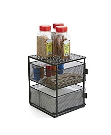 Mind Reader Rotating All Purpose 2 Tier Shelf, Baskets, Drawers with Magnets