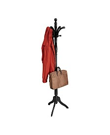 Mind Reader 11 Hook Solid Free Standing Wood Coat Rack, Entryway Coat Tree Hat Hanger Umbrella Holder