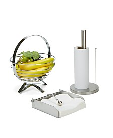 Mind Reader 3 Piece Stainless Steel Kitchen Table Décor Set with Collapsible Fruit Bowl, Napkin Holder, Paper Towel Holder
