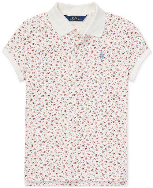 Polo Ralph Lauren Big Girls Floral Stretch Mesh Polo Shirt