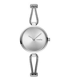 RumbaTime Gramercy Round Flat Mesh Stainless Steel Mesh Watch