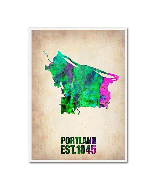 "Trademark Global Naxart 'Portland Watercolor Map' Canvas Art - 18"" x 24"" x 2"""