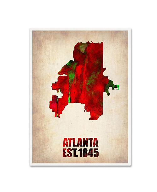 "Trademark Global Naxart 'Atlanta Watercolor Map' Canvas Art - 35"" x 47"" x 2"""