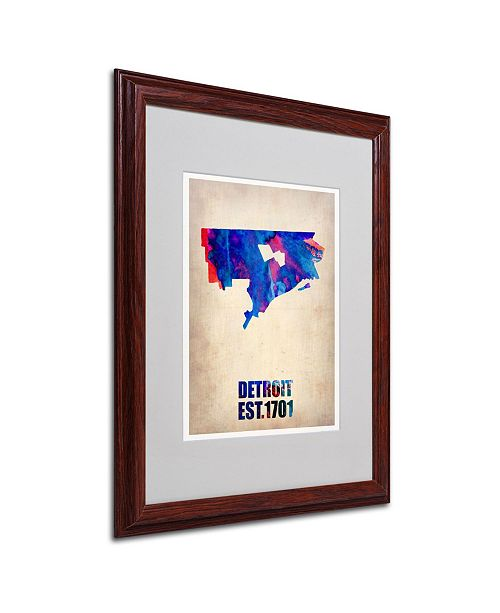 "Trademark Global Naxart 'Detroit Watercolor Map' Matted Framed Art - 16"" x 20"" x 0.5"""