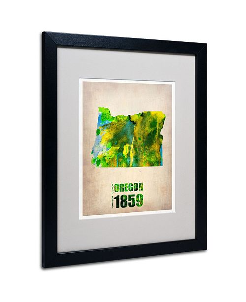 "Trademark Global Naxart 'Oregon Watercolor Map' Matted Framed Art - 20"" x 16"" x 0.5"""