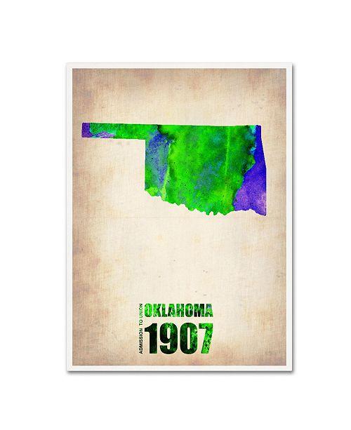 "Trademark Global Naxart 'Oklahoma Watercolor Map' Canvas Art - 18"" x 24"" x 2"""
