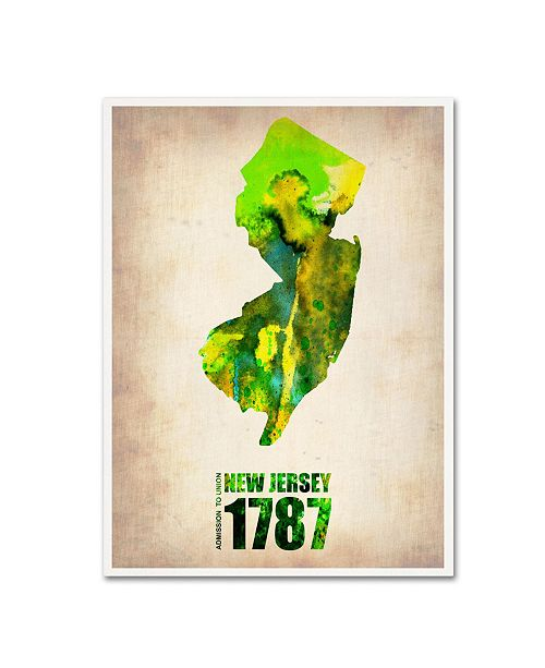 "Trademark Global Naxart 'New Jersey Watercolor Map' Canvas Art - 18"" x 24"" x 2"""