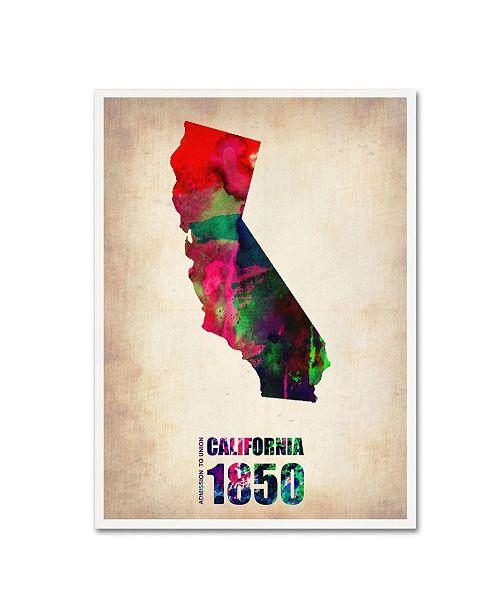 "Trademark Global Naxart 'California Watercolor Map' Canvas Art - 18"" x 24"" x 2"""