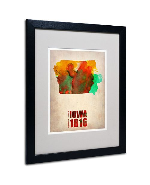 "Trademark Global Naxart 'Iowa Watercolor Map' Matted Framed Art - 20"" x 16"" x 0.5"""