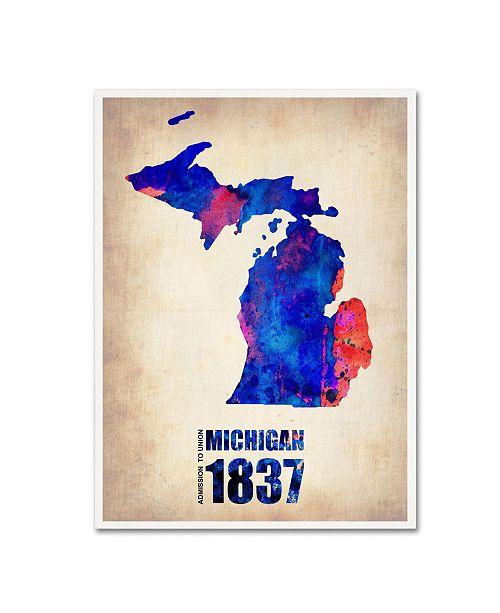 "Trademark Global Naxart 'Michigan Watercolor Map' Canvas Art - 18"" x 24"" x 2"""