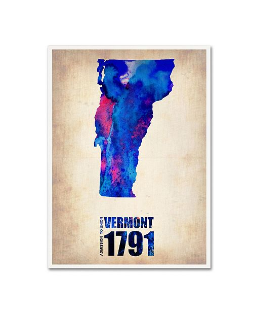 "Trademark Global Naxart 'Vermont Watercolor Map' Canvas Art - 18"" x 24"" x 2"""