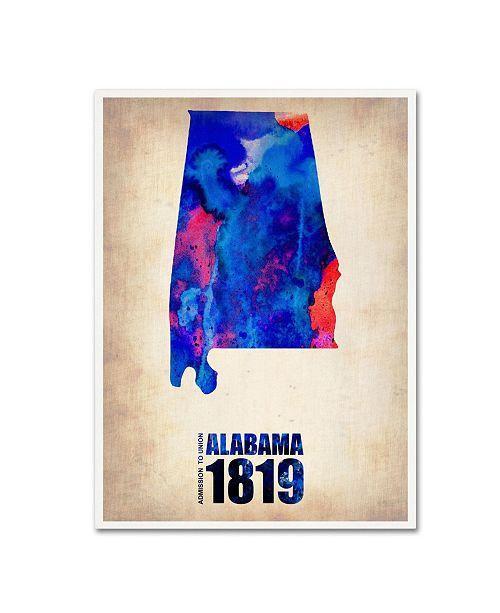 "Trademark Global Naxart 'Alabama Watercolor Map' Canvas Art - 18"" x 24"" x 2"""